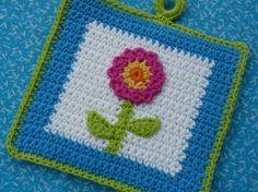 Summertime Flower Potholder Crochet PATTERN by bearsy43 on Etsy, $2.25
