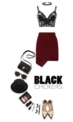 """Not-So-Basic: Black Chokers   24 Feb 2016"" by kristinksn ❤ liked on Polyvore featuring Glamorous, Jimmy Choo, Christian Dior, Chanel, MAC Cosmetics, NARS Cosmetics, Rimmel, Effy Jewelry and blackchokers"