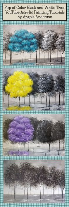 Angela Anderson Art Blog: Pop of Color Black and White Trees | Acrylic Painting Tutorial | Easy Beginner Painting | DIY Canvas Art | Paint Party | #BlackandWhite | #acrylicpainting | #angelafineart