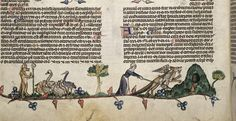 Detail of a bas-de-page scene of Reynard the Fox, with a fox wearing a bishop's mitre and carrying a crozier preaching to birds, including falcons, chickens, geese, a stork and a swan. On the right, fox runs towards its den with a goose in its mouth as a woman with a distaff chases him.   Origin: France, S. (Toulouse?)