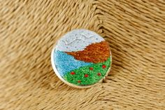 Embroidered landscape pin brooch - kikulu handmade jewellery and vintage jewellery Vintage Jewellery, Handmade Jewellery, Vintage Costume Jewelry, Vintage Costumes, Metal Pins, Cotton Thread, Brooch Pin, Landscape, Silver