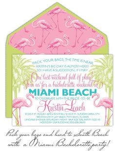 Beach party invites...we'll change the pink flamingos to something else more coastal.