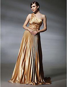 Vestido de Noite em Cetim Elástico com Cauda Sweep e Um Ombr... – USD $ 99.99