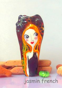 jasmin french ' in love with king kong ' lampwork focal bead ooak