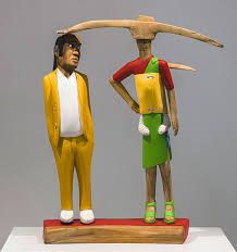 Collen Maswanganyi Uncle and his Goldigger, 2013 Corkwood, willow wood and acrylic x 60 x African Traditions, Willow Wood, Choir, Ronald Mcdonald, Image, Art, Fashion, Art Background, Moda