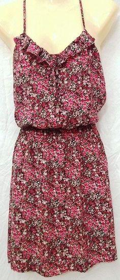 Flower Dress~Pink~Large~Pretty Floral Pattern~Ruffles~Racerback~EUC #Mossimo #Sundress #SummerBeach