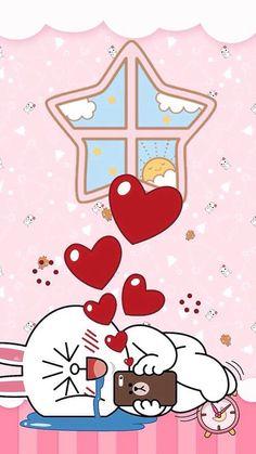 Cony Cartoon Pics, Cute Cartoon, Cartoon Art, Line Cony, Cony Brown, Bunny And Bear, Brown Line, Kakao Friends, Line Friends