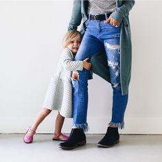 Black leather booties worn by Amelia Hannah