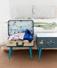 Old, hard-sided suitcases are full of character, which is why they create the ultimate storage table. If you add legs you can stuff linens inside, then sit odds and ends like books or your cup of coffee on top the rest of the time.
