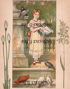 Antique storybook children's book illustration art Victorian girl birds pigeons digital download printable instant image clip art by BigGDesigns on Etsy