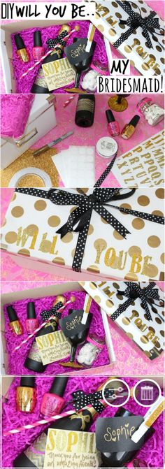 DIY Will You Be My Bridesmaid Gift! http://pinkparadisebeauty.blogspot.co.uk/2015/06/diy-will-you-be-my-bridesmaid-gift-and.html