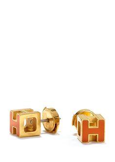 HERMES Cage D'H Earrings オレンジ、赤、エメラルドグリーンも可愛いのだ