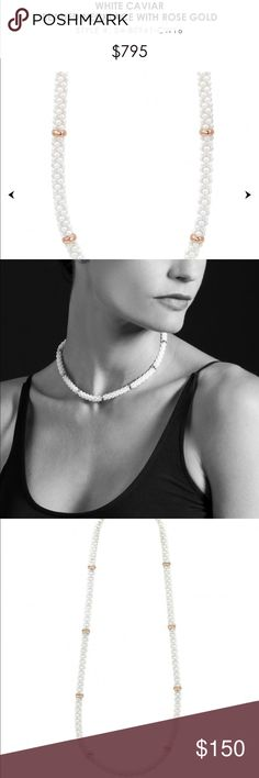 White Caviar Necklace with Gold Stations Necklace is like new! Only work ounce, great for a choker or short necklace look. Measures 16 inches end to end. It's a beautiful piece for brides! Lagos Jewelry Necklaces