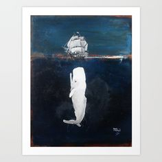 The White Whale Art Print by Renee Bolinger. Worldwide shipping available at Society6.com. Just one of millions of high quality products available.