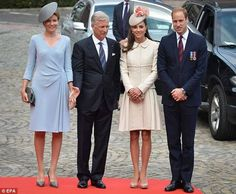 04 AUGUST 2014 King Philippe and Queen Mathilde with Prince William and Princess Kate.