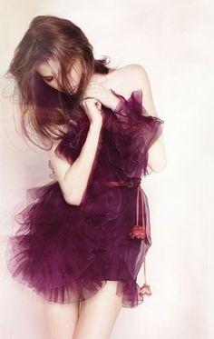 Christian Dior ruffly purple dress!