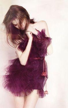 Christian Dior ruffly purple dress!