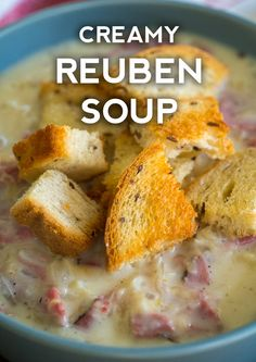 Now, a good, old-fashioned reuben sandwich is just about always our top pick if we're going to a deli or diner, but when the weather gets a bit colder and we're looking for something to Reuben Sandwich, Soup And Sandwich, Ruben Soup, Soup And Salad, Bowl Of Soup, Soups And Stews, Food And Drink, Cooking Recipes, Cooking Kale