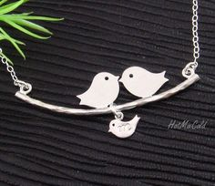 Family Necklace, Baby bird Initial. Silver Bird Necklace, Baby shower gift,  Personalized Necklace, Mother's Jewelry. Birds on tree Necklace. $31.00, via Etsy.