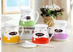 summer new simple lovely cartoon ceramic milk mug with porcelain spoon and lid, View simple mug, xinsheng Product Details from Yiwu Fanhai E-C Firm on Alibaba.com