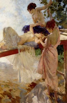 """the painted bridge, sir william russell flint . """"Sir William Russell Flint (4 April 1880 – 30 December 1969) was a Scottish artist and illustrator who was known especially for his watercolour paintings of women. He also worked in oils, tempera, and printmaking."""""""