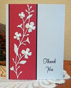 handmade Thank You card ... Memory Box die cut flowers .... luv the look of intricate die cut on red ... clean and simple layout ... luv it!