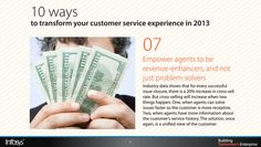 Empower agents to be revenue-enhancers, and not just problem-solvers Cross Selling, Customer Service Experience, Data Show