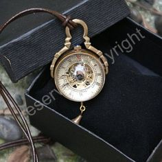 Skeleton Pendant Pocket Watch Mechanical Movement Hand Wind Steampunk Vintage Style Crystal Ball Roman Numerals - PW13: Watches: Amazon.com