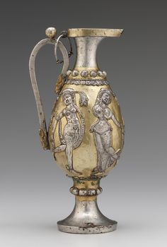 Ewer decorated with female figures 6th-7th century Sasanian period Silver and gilt H: 35.5 W: 16.9 D: 14.0 cm Iran