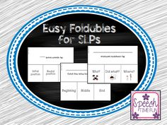Speech Time Fun: Basic Foldables for SLPs....FREEBIE!! Pinned by SOS Inc. Resources. Follow all our boards at pinterest.com/sostherapy/ for therapy resources.
