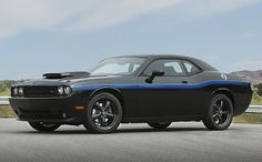 2010 Dodge Challenger. Black and Mopar blue