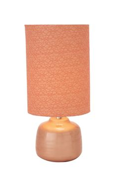 "Modern Shape 23"" Peach Orange Ceramic Table Lamp Contemporary Home Decor"
