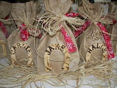favor bags for a cowboy themed party!