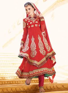 $127 #Majestic #Red #Layered #AnarkaliSuit