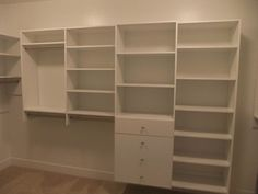 Walk In Closet, wall mounted w/shelving, hanging and drawers