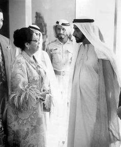 Egytpian singer Umm Kulthum with Sheikh Zayed bin Sultan Al Nahyan, Emir of Abu Dhabi & first president of the United Arab Emirates.
