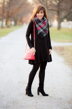 It's the Christmas season and today I'm showing how to style a swing dress with a plaid scarf and a red crossbody bag. This is a festive look!