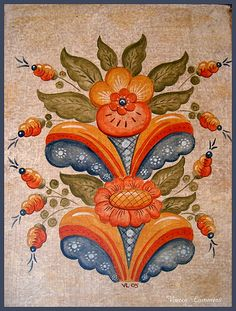 Rosemaling Pattern, Contemporary Decorative Art, Norwegian Rosemaling, Swedish Decor, Scandinavian Folk Art, Crewel Embroidery, Naive Art, Quilt Block Patterns, Art Inspo