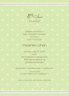 A Kiss Goodnight Spring Green Personalized Shower Invitations
