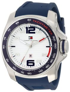 Tommy Hilfiger 1790855 Sport Stainless Steel and Blue Silicone Watch * See this great watch.