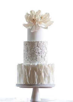 White tiered wedding cake with wonderful ruffle, lace and sugar flower details // Top 10 Wedding Cake Creators in Malaysia - Part 2 {Facebook and Instagram: The Wedding Scoop} #whiteweddingcakes #laceweddingcakes