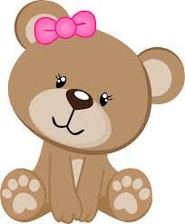 Sitting Teddy Bear w/Bow in Ear Baby Shower Oso, Baby Animals, Cute Animals, Diy And Crafts, Paper Crafts, Baby Shawer, Bear Party, Cute Clipart, Baby Cards