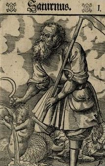Saturn   Depicted as the Roman god Saturnus, holding his symbolic attributes: a sickle & scythe, a half-human, half-fish figure pouring water from a vessel representing the zodiacal sign of Aquarius, and a goat representing Capricorn (both signs governed by Saturn), 1550–70