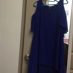 Bright blue dress Runs a little short so maybe not best for taller girls. Longer in the back than the front. Bright blue beautiful color. Comfortable and flowy. Originally bought at Nordstrom City chic Dresses Asymmetrical