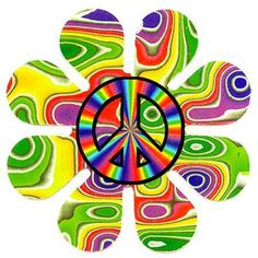 Lots of colors, Flower Power and Peace signs Hippie Peace, Happy Hippie, Hippie Love, Hippie Chick, Hippie Style, Hippie Things, 70s Hippie, Yin Yang, Peace Sign Art