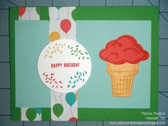 Sneak Peek! 2015-2016 Annual Catalog new products... Fun birthday card using Sprinkles of Life stamp set, Cherry on Top DSP, Cucumber Crush card stock http://www.stampinup.net/esuite/home/patstreasures/