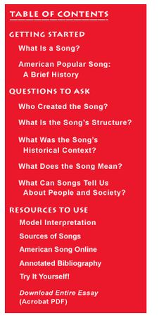 American Popular Song, a Brief History. History Matters: A U.S. History Survey Course on the Web