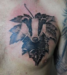 Leaf and badger tattoo