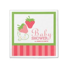 Strawberry Pink and Green Girl Baby Shower Disposable Napkins