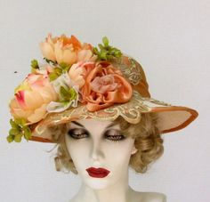 Tea party hat made in Edwardian vintage style adorned with Peonies in shades of peach to tangerine / Etsy